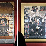 """The Madonna with the Infant Jesus and Her Fifteen Mysteries,"" Harada house document, Kyoto University Collection, (left) and Azuma house document, in the trust of the Ibaraki Municipal Cultural Properties Depository (right) (Both on exhibit, Kyoto University Museum, Sakyo Ward, Kyoto)"