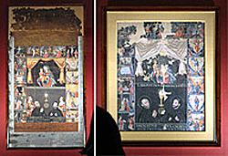 """""""The Madonna with the Infant Jesus and Her Fifteen Mysteries,"""" Harada house document, Kyoto University Collection, (left) and Azuma house document, in the trust of the Ibaraki Municipal Cultural Properties Depository (right) (Both on exhibit, Kyoto University Museum, Sakyo Ward, Kyoto)"""