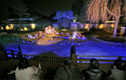 The garden emerges in fantastic blue lights (March 6, Kodaiji Temple, Higashiyama Ward, Kyoto)