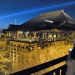 The Kiyomizu-dera Temple stage is lit up during the illumination test (March 21, Higashiyama Ward, Kyoto)