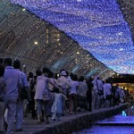 Photo= Visitors enjoy a summer night while gazing at the Milky Way, made using sparkling blue LEDs (August 3, near Horikawa-dori Shimotachiuri, Kamigyo Ward, Kyoto)