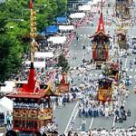 The Gion Festival floats parade through Oike-dori Street (July 17, Eastward view from Oike-dori Street Aburanokoji, Nakagyo Ward, Kyoto)