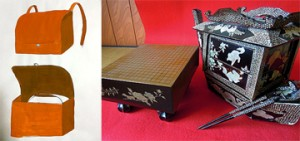 "Photo= A front basket attachable to a bicycle described in the spring design proposal. Part of a three-piece set combined with a multi-tiered box and stool (left side) and lunchboxes in a Go-board shape and a Chinese-ship shape. A Go board is drawn on the lid of the lunchbox, and when the lid is opened, it serves as a multi-tiered box. The entire surface of the Chinese-ship-shaped lunchbox is decorated with on the entire surface with mother-of-pearl lamina, and its paddles are chopsticks (""Hanbey-fu"" lunchbox museum's collection)"
