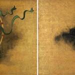 """Photo= Korin Ogata's """"Fujin-Raijin-zu Byobu"""" folding screen (Tokyo National Museum)"""