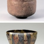 "Photo= Chojiro's work, the Red Raku tea bowl named ""Tarobo"" owned by Urasenke Konnichian (top photo) Raku Kichizaemon XV's work, the Yakinuki Black Raku tea bowl named ""Saidofuki"""