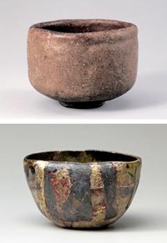 "Photo= Chojiro's work, the Red Raku tea bowl named ""Tarobo"" owned by Urasenke Konnichian (top photo) Raku Kichizaemon XV's work, the Yakinuki Black Raku tea bowl named ""Saidofuki"""