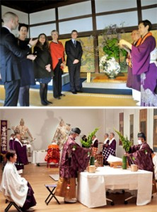 Photo= A Dutch party receives an explanation of Japanese flower arrangement from Mika Tsujii (right) = Daikakuji Temple, Ukyo Ward, Kyoto Photo (top) ; Kaigen Kuyo for the Nio-zo statues and a flower-offering ceremony conducted at the Rijksmuseum, Amsterdam, Netherlands (October 13, 2013)