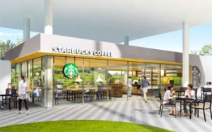 """Photo= A conceptual drawing of the """"Starbucks"""" opening on the Fukakusa Campus of Ryukoku University (provided by Ryukoku University)"""