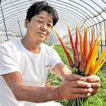 Photo= Nishimura holds carrots he cultivated in three different colors (Ojima, Kumiyama Town, Kyoto Prefecture)