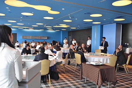 Photo= Prior to the sales promotion in Taiwan by leaders scheduled from July 13, Otsu City held a meeting to exchange opinions with tourism-related agencies and temples etc. (a hotel within Otsu City)