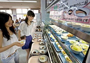 Photo= Small dishes for 100-yen breakfast at DWCLA. Students can choose three (Kamigyo Ward, Kyoto)