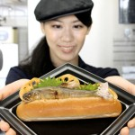 "Photo= ""Ayu no Shioyaki Dog"" or salt-grilled sweetfish in a bread roll (Kyoto Aquarium, Shimogyo Ward, Kyoto)"