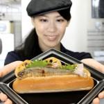 "Photo= ""Ayu no Shioyaki Dog"" or salt-grilled sweetfish in a bread roll (Kyoto Aquarium, Shimogyo Ward, Kyoto)"