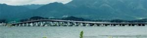 Photo= The Biwako Ohashi Bridges are marking the 50th anniversary of their opening (view from Moriayama City toward Otsu City)