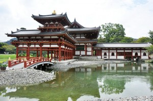 Photo= Full view of the Phoenix Hall at Byodo-in Temple
