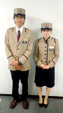 Photo= the newly designed uniform for JR-West's foreign staff