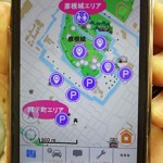 "Photo= The screen for ""NAVIHIKO"" which offers Hikone sightseeing maps and audio guides, such as for Hikone Castle"