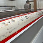 "Photo= A long picturesque scroll titled ""Shichinan Shichifuku Zukan"" depicts happiness and disasters which comes to people (Jotenkaku Museum, Shokoku-ji Temple, Kamigyo Ward, Kyoto)"