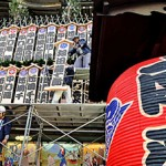 "Photo= ""Maneki"" boards with the east and west Kabuki stars' names posted high above the theater's main entrance (9:00 a.m., November 25, MINAMIZA Theater, Higashiyama Ward, Kyoto)"