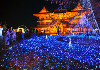 Photo= Visitors enjoy the illumination, including fantastically decorated trees and a light tunnel (Biwako Otsukan, Yanagasaki, Otsu City, Shiga Prefecture)