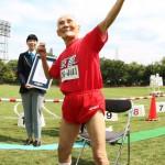 Photo= Miyazaki imitating Usain Bolt's pose after setting the world records (September 23, Ukyo Ward, Kyoto)