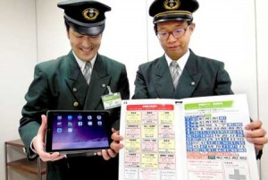 """Photo= A """"finger-point conversation board"""" (right) and a tablet terminal with translation functions, which have been installed as quick guides for foreign tourists (Kyoto Municipal Transportation Bureau, Ukyo Ward, Kyoto)"""