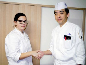 Photo= Jacquier shaking hands with Tsuji, supervising chef (right) = Kikunoi (main restaurant), Higashiyama Ward, Kyoto