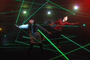"Photo= One of the rooms in the attraction ""Laser Mission Dasshutsu no Shiro"" where people slip past the laser beams spread all over the room in order to escape from the castle (Toei Kyoto Studio Park, Ukyo Ward, Kyoto)"