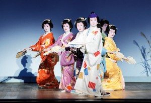 """Photo= Geiko from the five entertainment quarters show their gorgeous dancing on stage in the special traditional joint performance of """"Miyako-no-nigiwai"""" (June 25, Gion Kobu Kaburenjo Theater, Higashiyama Ward, Kyoto)"""