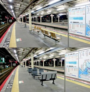 Photo= Conventional benches facing toward the tracks (upper) and new benches that have been changed to be perpendicular to the tracks= courtesy of JR-West Fukuchiyama Branch