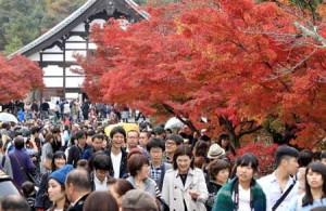 Photo= Tenryu-ji Temple was crowded with many visitors as the autumn leaves were at their best (November 20, Ukyo Ward, Kyoto)
