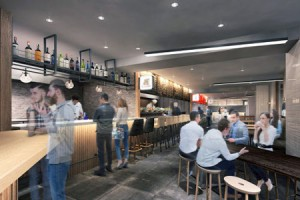 Photo= Image of restaurant floor to be arranged in the first basement. Various items including Kyoto-produced refined sake and local beer will be offered