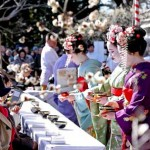 Photo= Geisha and Maiko from Kamishichiken serving tea to visitors