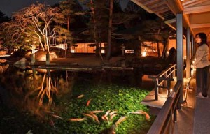 Photo= The garden and pond of the Kyoto State Guest House emerge from the dark by illumination (March 28, Kamigyo Ward, Kyoto)