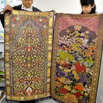 Photo= Prayer rugs that have been commercialized using golden brocade weaving techniques and designs (Kaji Kinran Co., Ltd., Kamigyo Ward, Kyoto)