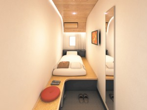 Photo= Image of a guest room in the simplified private-room type hotel newly developed by Sotetsu Group