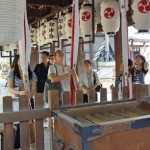 Photo= Kyoto City overseas information center representatives visit Gokonomiya Shrine (Fushimi Ward, Kyoto)