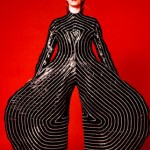 "Photo= A costume from the ""Aladdin Sane"" tour, designed by Kansai Yamamoto (shot by Masayoshi Sukita)"