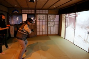 Photo= Users enjoy VR ninja training at the facility which is a renovated old private houses = Higashiyama Ward, Kyoto