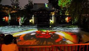 Photo= Guardian gods of Buddhism etc. are shown in the projection mapping's test run (October 18, Kodaiji Temple, Higashiyama Ward, Kyoto)