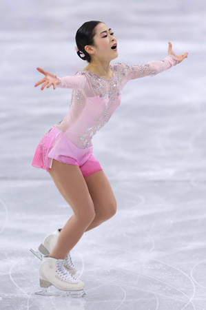 Photo=Satoko Miyahara performs the ladies short program in the team event of figure skating (Gangneung City)