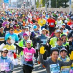 Photo= Runners energetically race along (near Umezudanmachi intersection, Ukyo Ward, Kyoto)