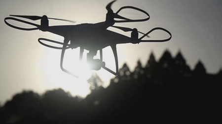 "Photo= A Kyoto Shimbun drone taking to the sky to film for the ""Soradori,"" photo project."