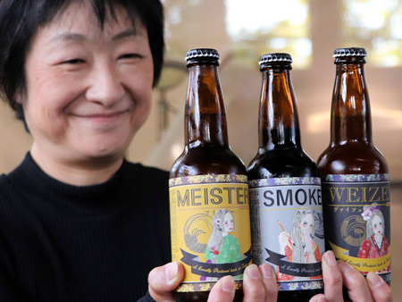 Bottles of Tango Craft beer brands at Tango Kingdom whose labels feature distinguished ladies in old tales in the Tango district