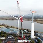 "The blades of ""Kusatsu Dream Windmill"" being removed (2:14 p.m., January 28, Oroshimo-cho, Kusatsu City, Shiga Prefecture) = Drone footage"