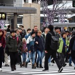 Foreign tourists crossing the intersection in front of JR Kyoto Station (February, 2019, Shimogyo Ward, Kyoto)